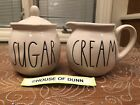 Rae Dunn SUGAR and CREAM Sugar Bowl and Creamer Set Combo LL HTF Brand New