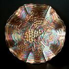 IMPERIAL GRAPE PATTERN LOW RUFFLED MARIGOLD CARNIVAL GLASS 9 BOWL