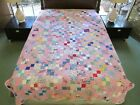 Vintage Hand Quilted All Feed Sack DOUBLE FOUR PATCH Quilt 89 x 70 Good