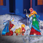Outdoor Nativity Scene Lighted Christmas Yard Decor 3 Pc Mosaic Holiday Display