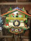 NICE GERMAN KEY WOUND CUCKOO STYLE PENDULETTE CLOCK WITH ANIMATED KISSING COUPLE