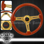 For Nissan 345mm Heavy Duty Steel Drifting Race Brown Wood Grain Steering Wheel