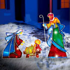 3 PC Lighted Outdoor Mosaic Nativity Scene Garden Lawn Yard Christmas Decoration