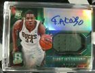 2013-14 Giannis Antetokounmpo Spectra Rookie Jersey Auto Leaf Best of Basketball