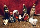Beautiful Painted Pottery 9 Figures Nativity Set Earth tone Glazed Colors