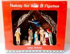 Vintage Hand Painted Nativity Set 13 Figures Wood Stable Made In ROC w Box