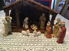 Vintage Sears Nativity Set 11 Figures Wood Stable Box 32 9800 Complete