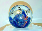 Vintage Art Glass Paperweight in Cobalt Blue Red Aqua controlled Bubbles Europe