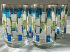 Set 5 Libbey Nordic Glass 12 oz Tumblers Blue Green Gold Retro Atomic Modern USA
