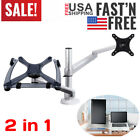 Monitor and Laptop Mount 2 in 1 Adjustable Dual Monitor Arm Desk Mount to 27 3d