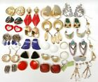 Stunning Vintage Estate Lot of 80s Vintage Earrings 25 pairs Lucite Enamel gold