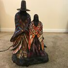 Rabbto Dale Tiffany Style Spirit Lives Bronze Stained Glass Native American Lamp
