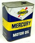 VINTAGE SUNOCO MERCURY MOTOR OIL 2 GALLON TIN METAL CAN