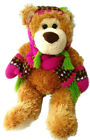 Mary Meyer Teddy Bear Plush Beanie Scarf Mittens Brown Purple 2008 Holiday