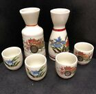 Vintage Sake Set Satsuma Coach  Lily Pattern Gold Accent 6 Pc Made In Japan