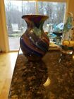 MURANO Hand Blown Art Glass Multi Color Green Blue Red Purple Vase 10 H x 8W