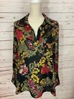 Pleione Large Black Red Yellow Green Floral Long Sleeve Blouse