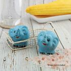 Ceramic Blue Elephant Salt  Pepper Shakers Set Blue Novelty Collectible Shakers