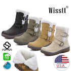 Women's Snow Ankle Boots Winter Fur Lining Warm Waterproof Ski Casual Shoes Size