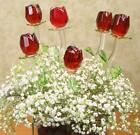 Long Stem 12 in Red Glass Rose with Green Leaves Valentines Day Mothers Day