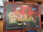 HEARTGARD FRAMED PRINT of DOGS GAMBLING DONT GAMBLE WITH YOUR PETS HEALTH NEW