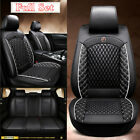 Black White PU Leather Car Front  Rear Full Set Seat Cover Cushions Universal