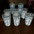 8 Vintage Jeanette Wedgwood Blue And White Greek Motif Glasses 8