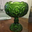 Vintage L.E. Smith Heritage Moon and Stars, Green Compote Rolled Edge w/Sticker!