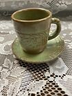 Frankoma Mayan Aztec Woodland Moss Green Cup And Saucer