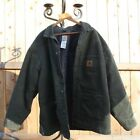 Carhartt Flannel Blanket Lined Green Chore Jacket 14806 Mens 2XL Made in USA