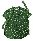 Antropologie Maeve Adagio Dog Ruffled Blouse Green Scottie Dog