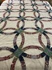 VINTAGE HAND QUILTED DOUBLE WEDDING RING QUILT 97 X 81