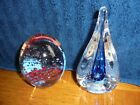 Two Art Glass Paperweights Teardrop Blue w Contolled Bubble  RedBlack Bubbles