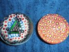 2 Murano Paperweights Orange Yellow Flowers  Blue Green Red Green Free Shipping