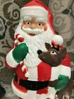 Christmas Santa Reindeer Blow Mold Made in 2000 41 Tall With Cord and Lights