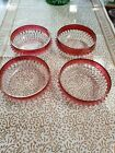 FOUR Indiana Glass Diamond Point Pattern Red Cranberry Flash Bowls Gorgeous!