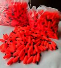 100 Piece Set Fishing Cigar Peg Floats Bobbers Unweighted Red 1 1 2 x 1 2