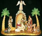 WOW UNBELIEVABLE HAND CARVED  HAND PAINTED RUSSIAN NATIVITY SET w STABLE 0615