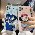 For iPhone 11 Pro max Xs 7 Mickey Minnie blu ray Soft Cover Case + Holder