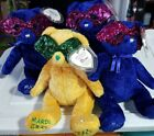 TY beanies: MASQUE & 3 MARDI GRAS TEDDY BEARS 2005 MWMTS LOT of 4 Time to PARTY!