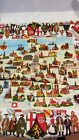 VINTAGE GERMAN MAP CITIES  CRESTS TABLECLOTH NEW 63x52 100 VISKOSE   N