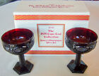 Vintage Avon Cape Cod SAUCER CHAMPAGNE GLASS SET of 2 Ruby Red Glass NEW