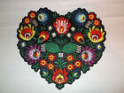 LARGE 775 MULTICOLOR FLORAL FLOWER HEART SHAPED EMBROIDERED IRON ON PATCH