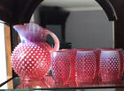 Fenton Cranberry Hobnail Opalescent Ice Lip Pitcher  8 Eight Barrel Tumblers