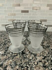 4 Retro Frosted 4 Oz Cordial Glasses With Silver Banded Rim