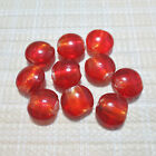 10pc 20mm Red Lampwork Glass Silver Foil Coin Beads