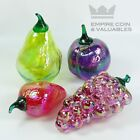 Vintage Glass Eye Studio Hand Blown Glass Fruit Grapes Strawberry Pear Apple