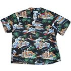 Vintage RJC Hawaiian Native Surfers Boat Palm Trees Aloha Black Shirt Mens 2XL
