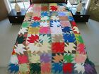 LARGE Vintage All Cotton Machine Pieced MAPLE LEAF Quilt TOP 107 x 85 Good