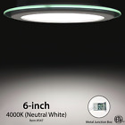 6 Inch Round Glass LED Dimmable Rrecessed Ceiling Light ETL Metal Junction Box